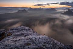 Sunrise from Kleiner Winterberg, Saxon Switzerland Royalty Free Stock Images
