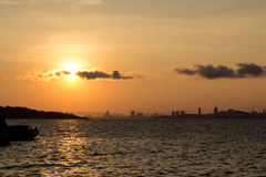 Sunrise at koh lan. Beautiful sunrise above the sea royalty free stock photos