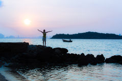 Sunrise At Koh Larn @Thailand. Scenery Koh Larn In Thailand Stock Photos