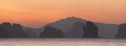 Sunrise at Koh Yao Noi, Phang-nga province. Panoramic view of beautiful sky during sunrise at Koh Yao Noi, Phang-nga province, Thailand stock photography