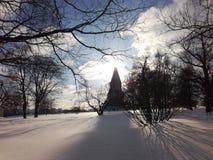 Sunrise in Kolomenskoe park. Winter Sunday in Kolomenskoe park stock image