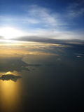 Sunrise at Kosamui, Thailand. Sunrise from the airplane window Royalty Free Stock Image