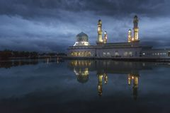 Sunrise at Kota Kinabalu mosque, famous landmark in Kota Kinabal. U, Sabah Borneo, Malaysia Stock Image