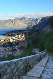 Sunrise in Kotor. View of old church in the fortress Stock Photo