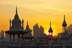 Sunrise in Kuala Lumpur. Towers of the historical building railway station in Kuala Lumpur at sunrise royalty free stock photo
