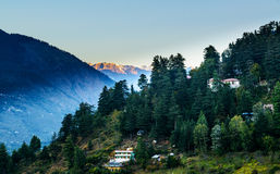Sunrise in Kulu valley with Himalaya range Royalty Free Stock Photos