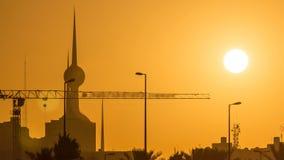 Sunrise with Kuwait Towers timelapse - the best known landmark of Kuwait City. Kuwait, Middle East