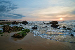 Sunrise on La Pedrera beach Stock Images