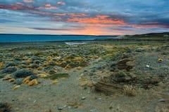 Sunrise on Lago Strobel. Patagonia, Argentina stock images