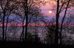 Sunrise at Lake. Sunrise over Lake Michigan in Wisconsin Stock Photos
