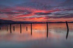 Sunrise at the lake. In Alava Stock Photo