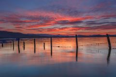Sunrise at the lake. In Alava Stock Images