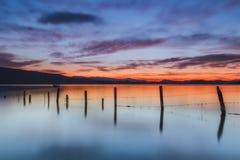 Sunrise at the lake. In Alava Stock Image