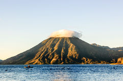 Sunrise on Lake Atitlan & volcano, Guatemala Royalty Free Stock Photo
