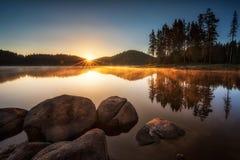 Sunrise on the lake stock photos