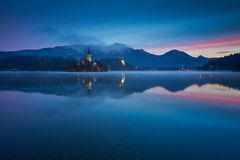 Sunrise at Lake Bled in the fall. Stock Image