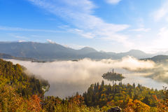 Sunrise at lake Bled from Ojstrica viewpoint Royalty Free Stock Images
