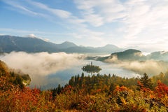 Sunrise at lake Bled from Ojstrica viewpoint Royalty Free Stock Photo
