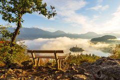 Sunrise at lake Bled from Ojstrica viewpoint Royalty Free Stock Photography