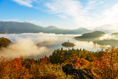Sunrise at lake Bled from Ojstrica viewpoint Stock Photos