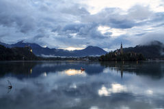Sunrise on Lake Bled. In Slovenia Royalty Free Stock Photography