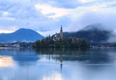 Sunrise on Lake Bled. In Slovenia Stock Photography