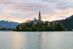 Sunrise on Lake Bled. In Slovenia Royalty Free Stock Photos