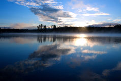 Lake Seliger landscape: sunrise clouds Stock Image