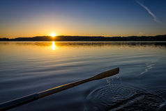 Sunrise lake fishing Stock Photography