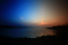 Sunrise on the lake. Fog landscape nature Royalty Free Stock Photography