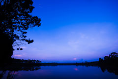 Sunrise at the lake. Forest asia morning Royalty Free Stock Photo