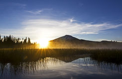Sunrise On Lake Hosmer Oregon Stock Photography
