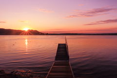 Sunrise by a lake inspiring relax and quietness Royalty Free Stock Photo