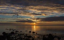 Sunrise on lake Ladoga, Karelia, Russia Stock Photo