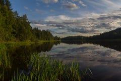 Sunrise on lake Ladoga, Karelia, Russia Royalty Free Stock Images