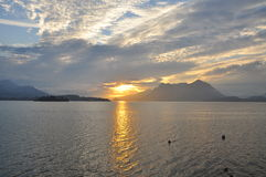 Sunrise lake Maggiore, Italy Royalty Free Stock Photos