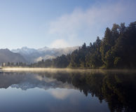 Sunrise at lake matheson Stock Photo