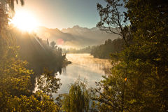 Sunrise at lake matheson. New zealand Royalty Free Stock Photography