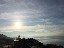 Sunrise lake Montreux Riviera Lavaux. Geneva lake mountain Swiss Royalty Free Stock Photo