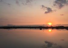 Sunrise on the lake in Ninh Hoa, Vietnam Stock Image