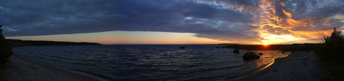 Sunrise on lake Onega Stock Images