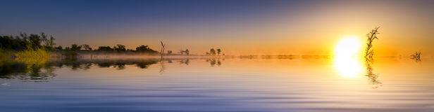 Sunrise Lake Panorama Royalty Free Stock Photos