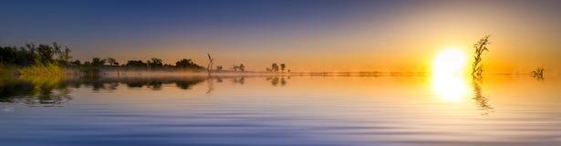 Sunrise Lake Panorama royalty free stock photos