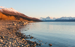 Sunrise at Lake Pukaki with view to mt.Cook Royalty Free Stock Photo