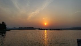 Sunrise by the Lake. Reflections of Dawn by the Asan Barrage on the Yamuna Stock Image
