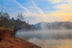 Sunrise lake Santeetlah. Colorful sunrise on the lake Santeetlah in Robbinsville, NC Stock Photos