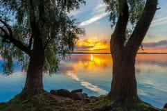 Sunrise on Lake Seliger Stock Photos