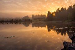 Sunrise on the lake. Golden hour Stock Photos