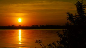 Sunrise on the lake, sunrise over river stock video footage