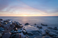 Sunrise Lake Superior. Rocky shore of Lake Superior during dusk time Royalty Free Stock Photos
